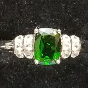 Chrome Diopside & Diamond Cocktail Ring  Sterling